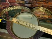 Lot Of 3 Vintage Vanity Trays Brass W/ Mirror Footed 9 11-1/2 And 12