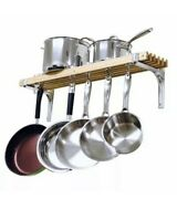 Wall Mounted Wooden Pot Rack 36 By 8-inch 1 New Read
