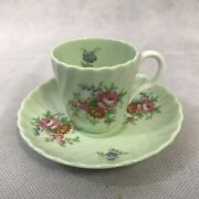 Vintage Rosetta Green Floral Tea Cup And Saucer Bone China England Flowers Rose