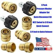 8-pack Pressure Washer Adapter Quick Connect Kit M22 Swivel 3/8 Inch 3/4 Inch