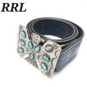 Rrl Mens World Limited Carving Leather Belt Thunderbird Buckle Used