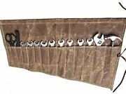 Chengyi Waxed Canvas Wrench Roll Up Organizer Tool Bag With 14 Pockets Waterproo