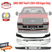 Front Bumper Chrome + Upper Cover + Lower Valance For 2005-2007 Ford F-250 F-350