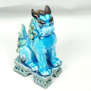 The Bull And Dragon Single Blue - Green - White Dog Statue Japanese 7 1/2 Tall