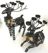 Metal Reindeer Tealight Candle Holder Set Of 2 Christmas Table Decorations