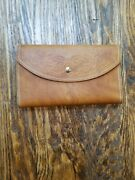😁sandalwood Cowhide Brasil Brown Leather Coin Purse And Trifold Wallet