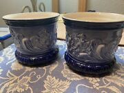Old Flow Blue Crownford China Two Mermaid Planters