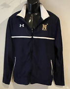 Under Armour Us Navy White And Navy Blue Zip Up Jacket Windbreaker Small Excellent