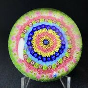 Old Baccarat Concentric Millefiori Paperweight Flower Large Glass Crystal