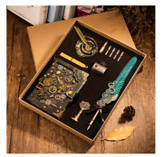Vintage Feather Dip Pen Gold Gift Box Set Lacquer Seal Wax Stamp Ink Bottle Nibs