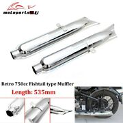 2pcs Retro Motorcycle 750cc Fishtail Exhaust Muffler Pipes For Bmw K750 M1 M72