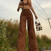 Brown Floral Jeans Straight Cargo Pants Vintage Denim Baggy Hot Popular Trousers