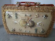 Vintage Sea Shell Atlas Of Hollywood Charming Straw Rattan Lucite Purse