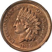 1859 Indian Cent Ngc Ms62 Great Eye Appeal Nice Luster Nice Strike