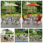 Brand New 6 Piece Patio Dining Furniture Set Outdoor Table, Chairs, Umbrella