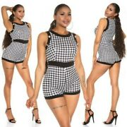 Houndstooth Printed Hotpants Jumpsuit Overall With Decor Buttons