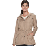 New D.e.t.a.i.l.s Womenand039s Hooded Packable Anorak Jacket Raincoat Beige Tan Small