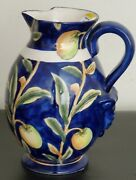 Blue And Yellow Hand Painted Pitcher