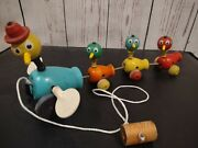 Vintage 1956 Wood Pull Toy Fisher Price Gabby Goofies Mama Duck And Babies 13 🦆