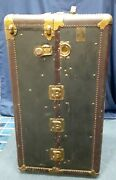 Vintage Belber Steamer Trunk Wardrobe With Wooden Hangers 5 Drawers And Briefcase
