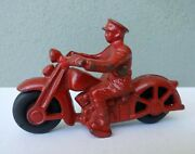 Hubley - Vintage Cast Iron Red Toy Motorcycle W/ Rubber Tires - Exc