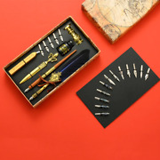 Vintage Royal Calligraphy Set Feather Dip Pen Nib Wax Seal Stamp Quill Gift Box