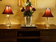 Pair Of Waterford Lismore Fine Crystal Table Desk Lamps - Both In Exquisit Cond