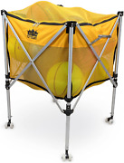 Crown Sporting Goods Collapsible Ball Cart - Rolling Wheels Zip Top Cover For