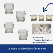 4sets Of 3piece Square Vases Wedding Glass Table Centerpiece Candle Holders