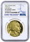 2021-w 1 Oz Gold Buffalo Proof 50 Coin Ngc Pf70 Uc Early Releases