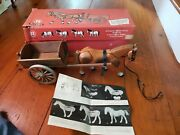 Vintage Hausser Mechanical German Horse And Cart Pull Toy Articulating Rare Box +