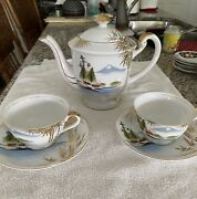 Kutani China Hand Painted Teapot And 8 Cups And Saucers. Vintage Circa 1951.