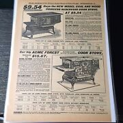 Coal And Wood Cook Stove 1902 Catalog Advertising Art Vintage Print Ad A397