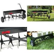 Plug Aerator Tow Behind Heavy Duty Universal Hitch Lawn Tractor W/ Weight Tray