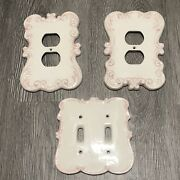 2 Porcelain Outlet Covers And Matching Double Toggle Switch Pink White Vintage