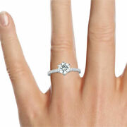 1 1/2 Ct Beauty Diamond Engagement Ring Round Cut F/si1 14k White Gold