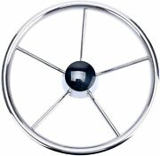 Stainless Boat Steering Wheel 13-1/2 Inch 5-spoke Destroyer Style Amarine-made