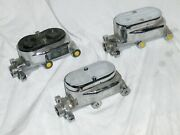 Lot Of 3 Chrome Flat Top Street Rod Master Cylinders Gm 3/8 + For Parts Repair