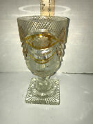 Moser Bohemian Style Wine Goblet Chalice Faceted Crystal Amber/yellow Cut/clear