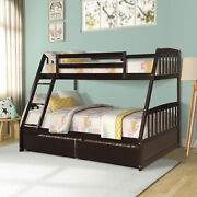 Twin Over Full Size Bunk Beds Convertible Platform Wood Bed Frame With 2 Drawers
