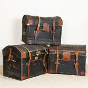 Authentic Vintage Set Of 3 Travel Trunks With Monograms