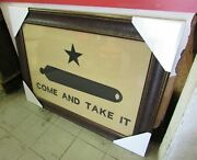Framed Come And Take It Gonzales Texas Flag Aged Rustic 42'' X 30''