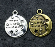 Bulk 300p Hidden Silver Star-moon Combination Charm Is Suitable For Diy Jewelry