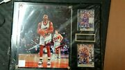 [very Rare] Authentic Framed Autographed Photo Of Nba Player Charles Barkley Jpn