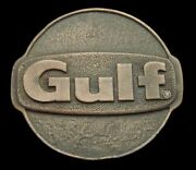 Qd02148 Awesome Vintage 1970s Gulf Oil And Gas Logo Brasstone Oilfield Buckle