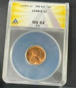 1948 S Lincoln Cent Anacs Ms64rb Red Ea