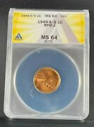 1949 S/s Rpm-002 Lincoln Anacs Ms64 Red Difficult Certified Variety Ea