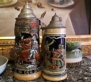 Rare Large And Medium Beer Stein German And Foreign Collectable Vintage Knights
