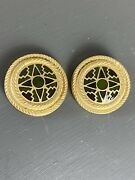 Vintage 80s Liberty London Gold Plated Enamelled Cloisonnandeacute Clip On Earrings