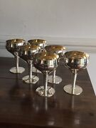Antique Style Solid Silver Gilt Bowl Set Of Six Goblets Cups Birm Robert And Dore